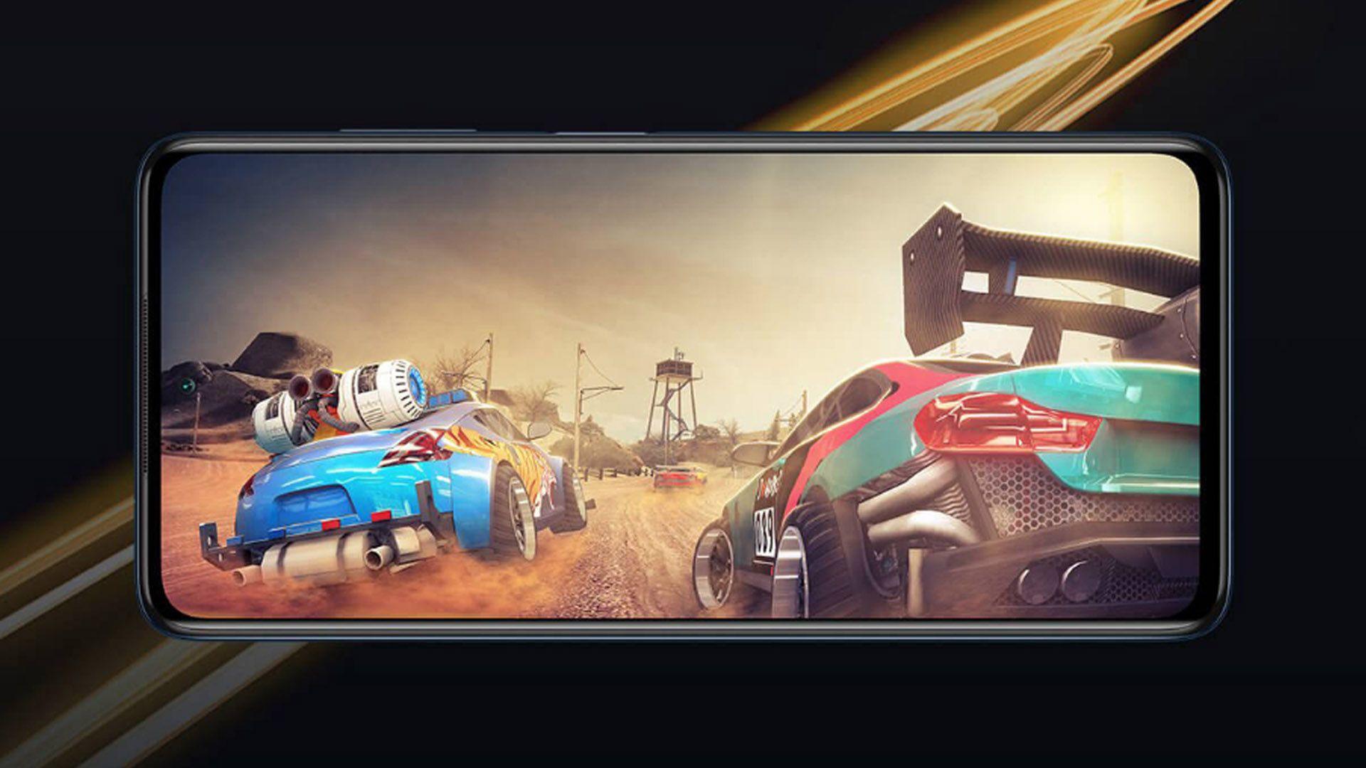Parte frontal do Poco X3 Pro exibindo jogo de celular