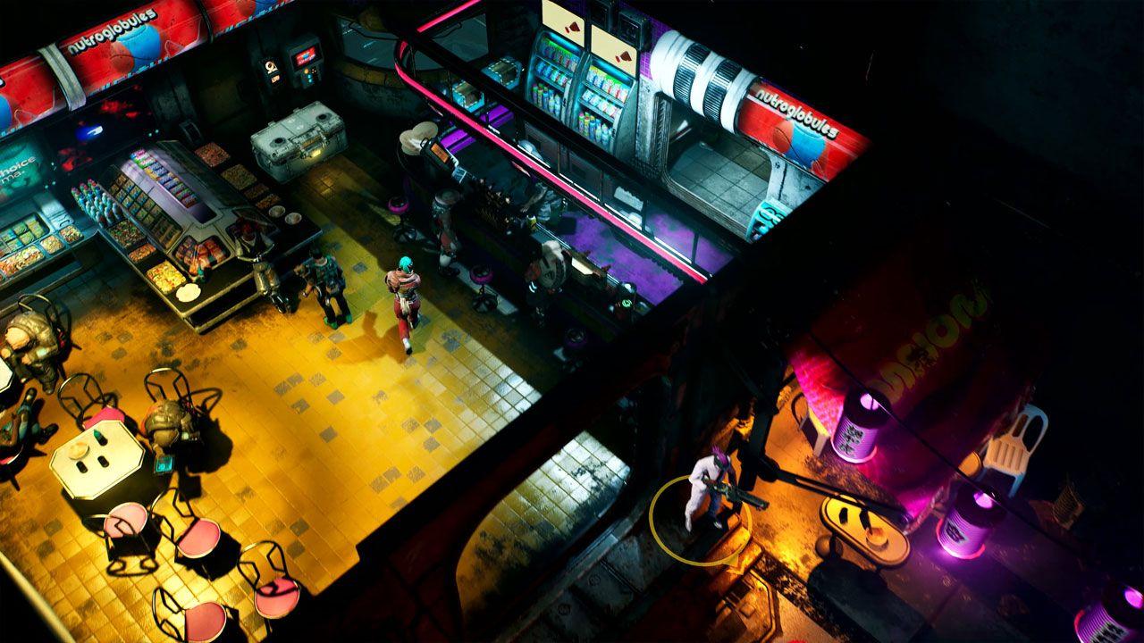 Foto mostra captura de jogo The Ascent com um bar futurista visto de cima