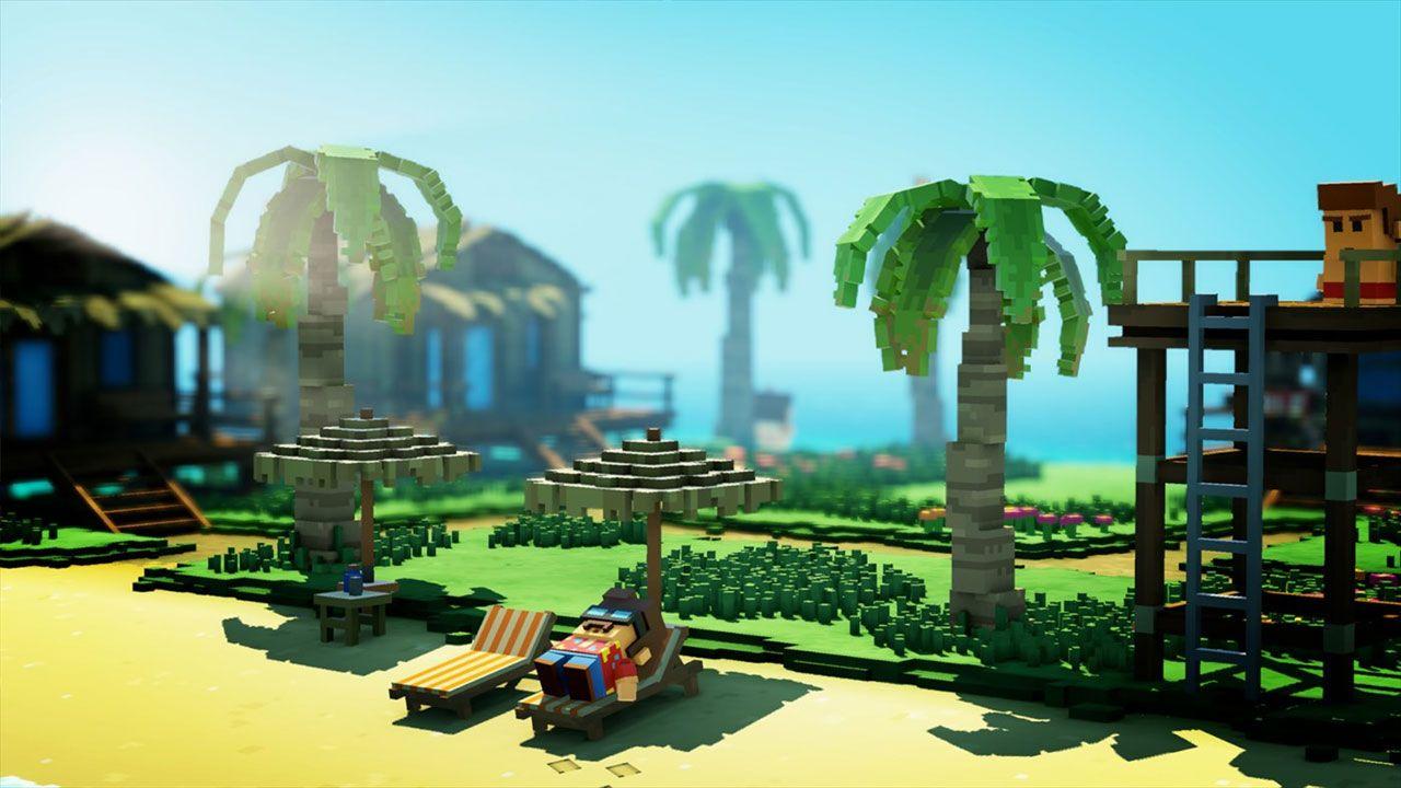 Foto mostra personagem do jogo The Touryst descansando em uma espreguiçadeira na praia