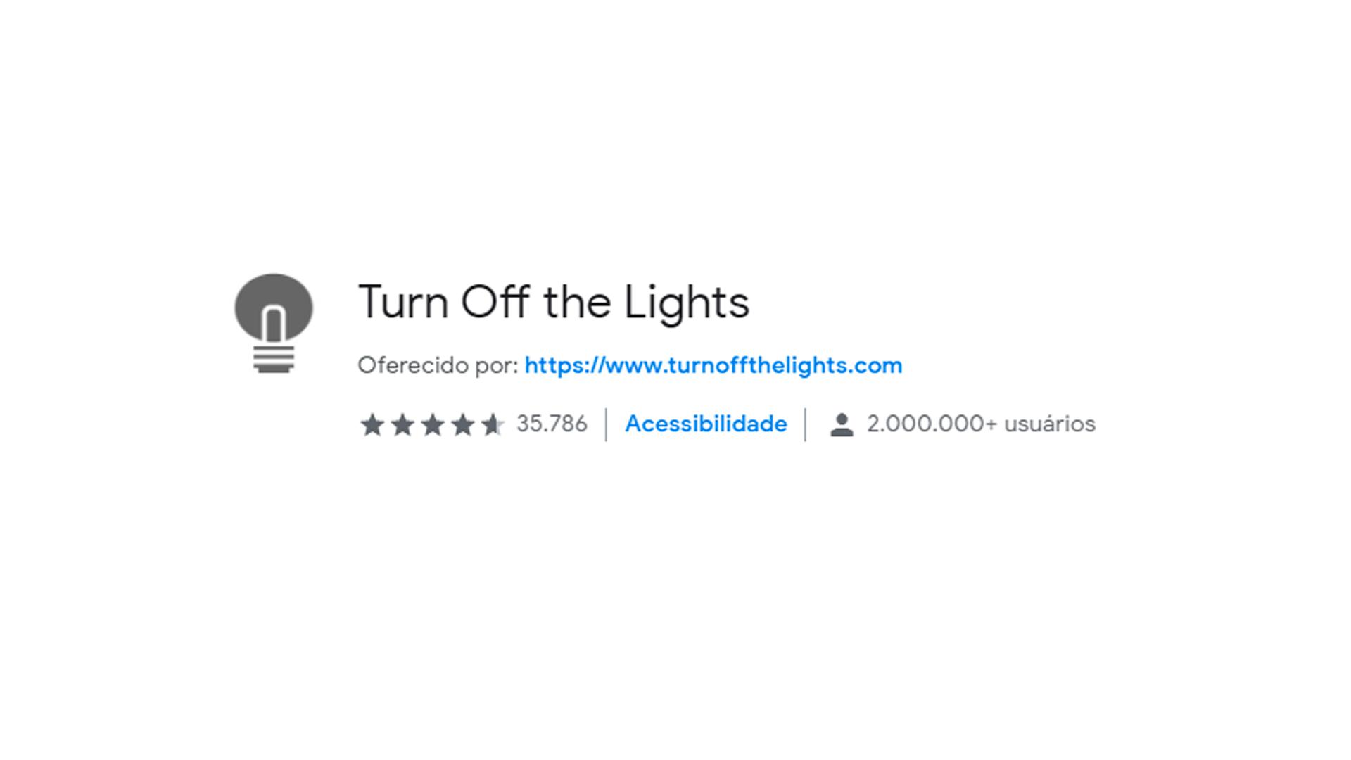 Ícone do aplicativo Turn Off The Lights para Chrome Web Store