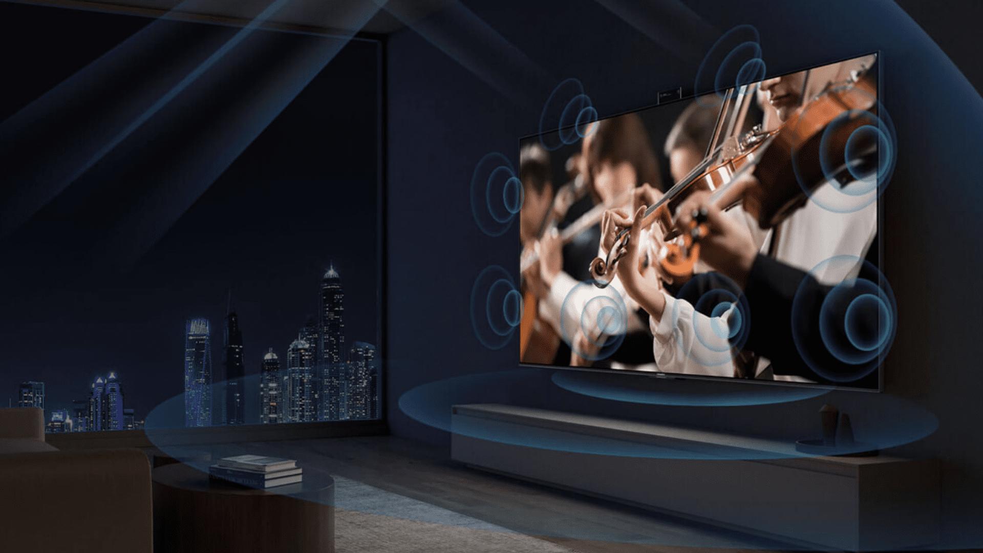 A TV da Xiaomi totaliza 100W de potência sonora, um valor muito acima da média. (Imagem: Divulgação/Xiaomi)