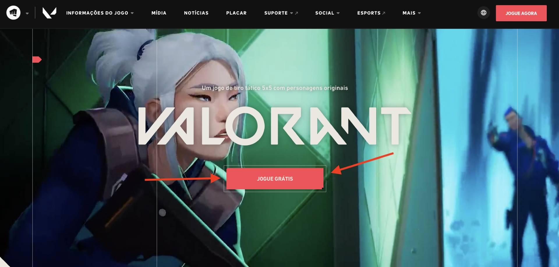 """Tela inicial do site de Valorant, com setas apontando para o botão escrito ˜Jogue grátis"""""""