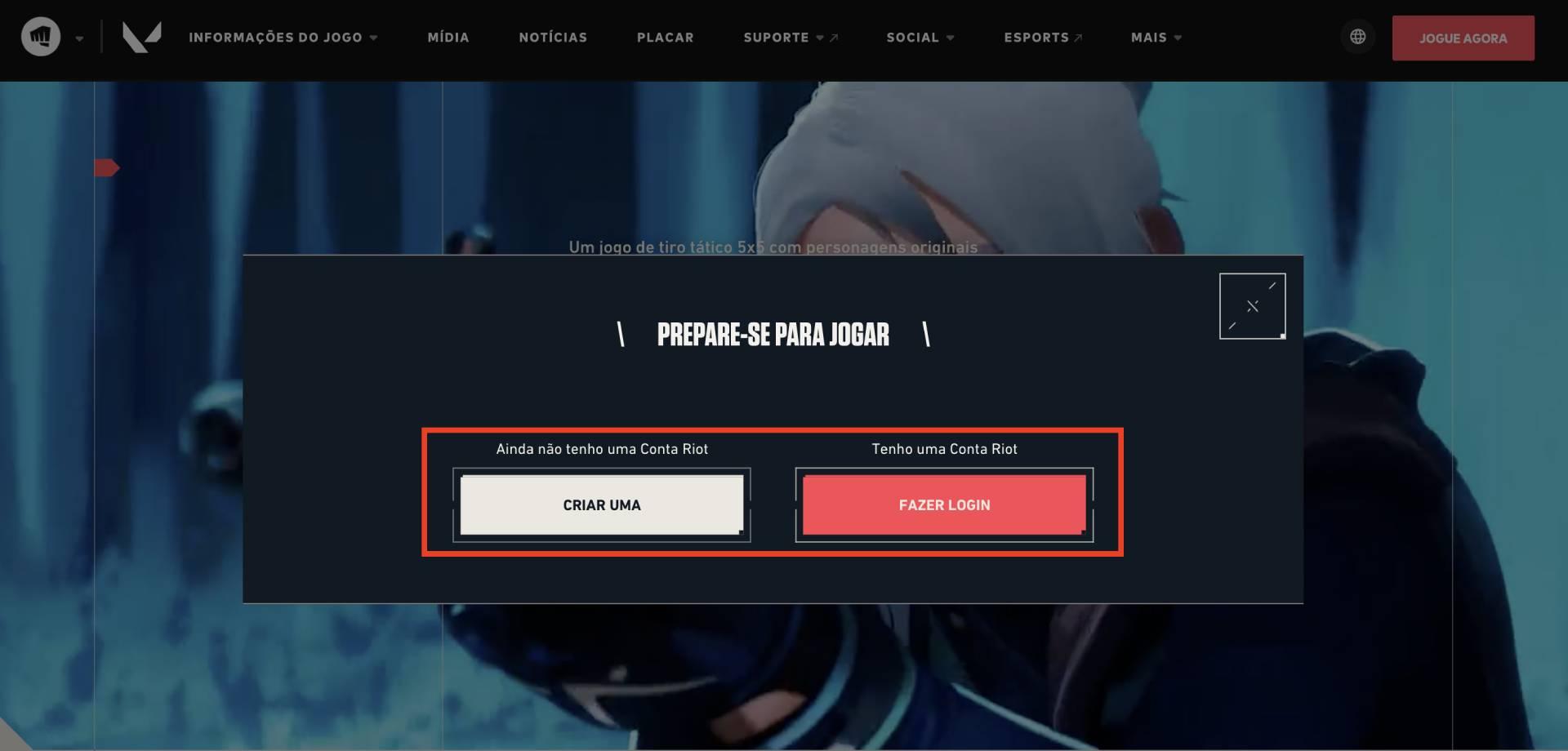 Página inicial de Valorant com quadrado marcando as opções de login no site