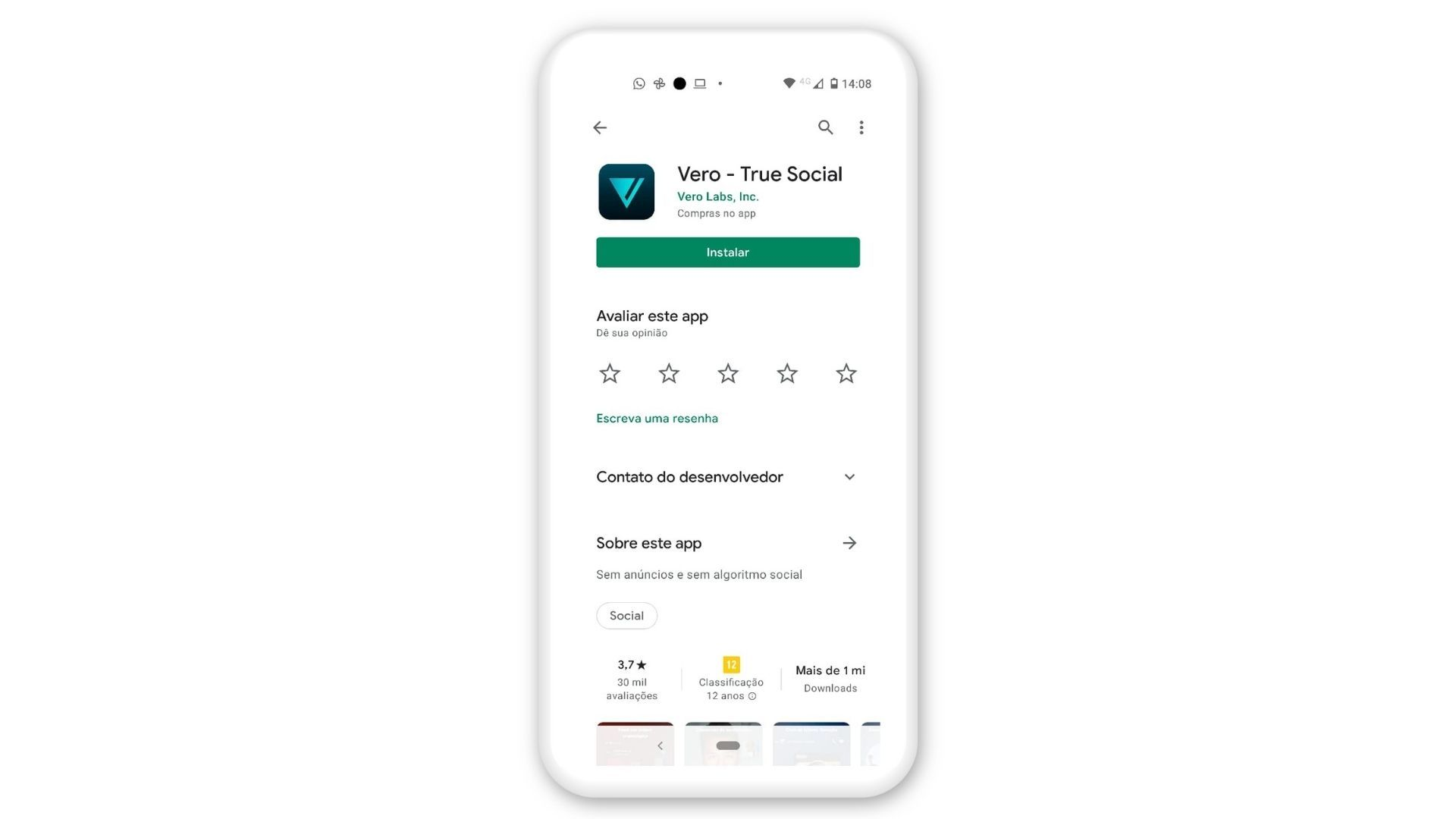 Clique em instalar para baixar a Vero no Android (Foto: Reprodução/Zoom)