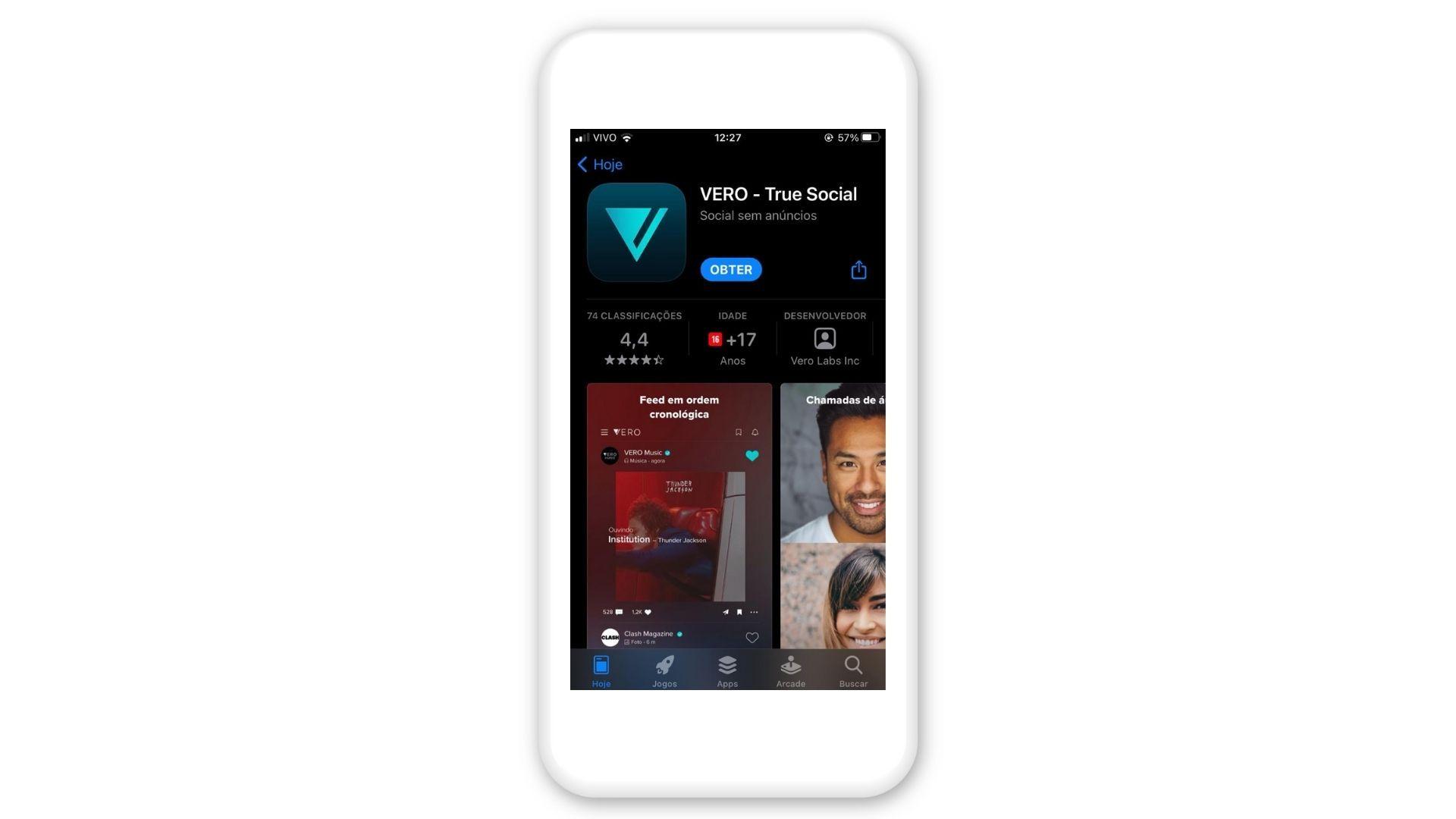 Clique em Obter para instalar a Vero no iPhone (Foto: Reprodução/Zoom)