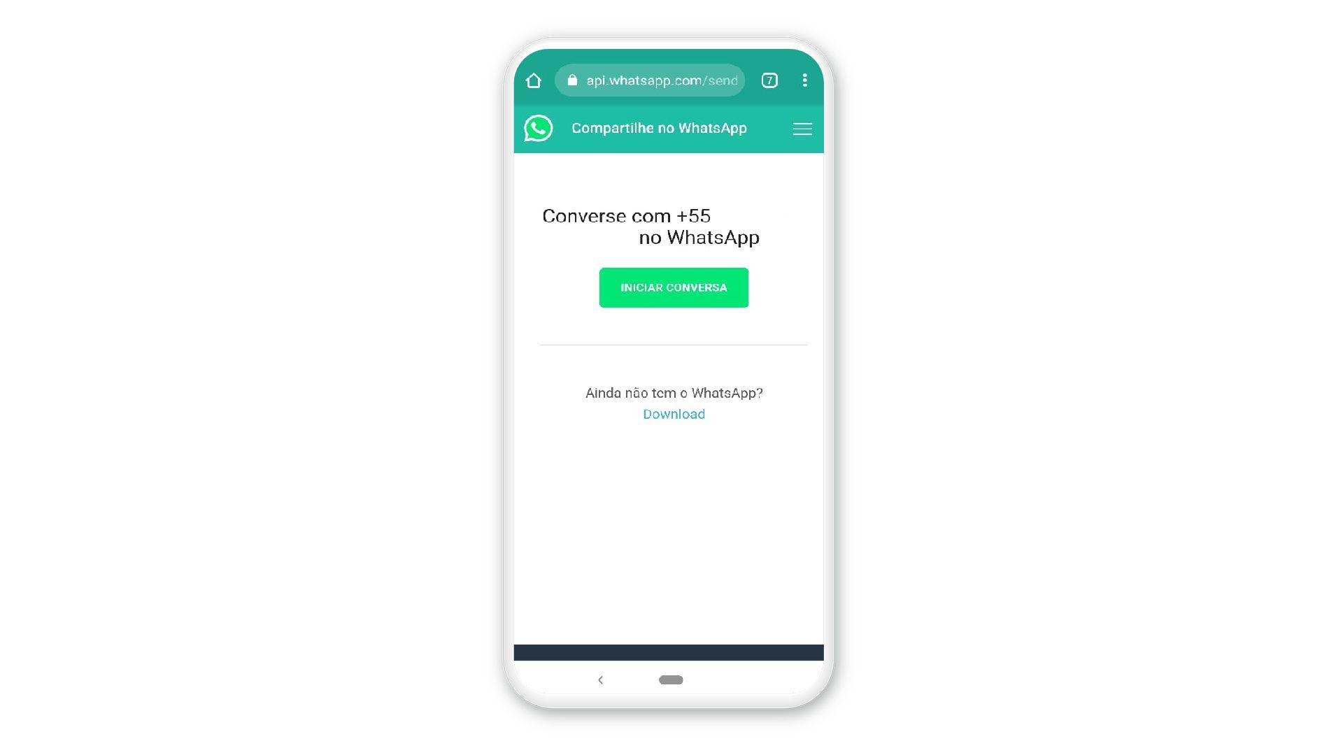 Primeiro passo para criar link do WhatsApp (Foto: Reprodução)