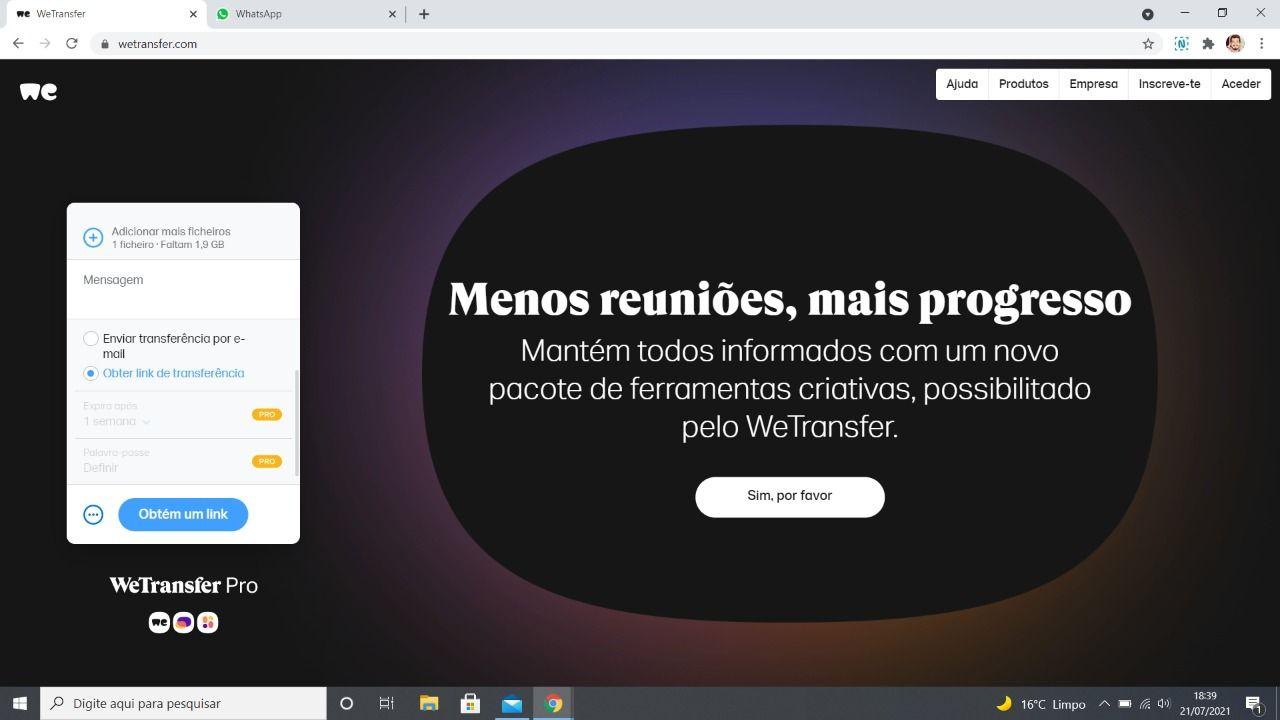 Página do WeTransfer após enviar o arquivo por email, com um campo para obtenção do link de transferência.