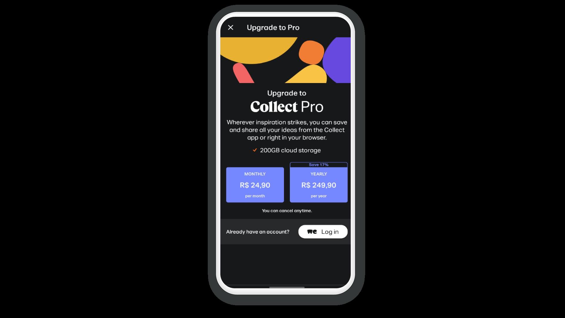 Página do WeTransfer no celular oferecendo os planos por assinatura para acesso à versão Pro.