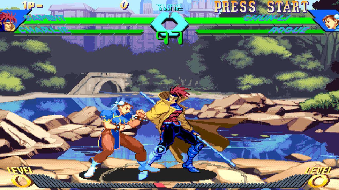 Duelo entre Gambit e ChunLi no X-Men Vs. Street Fighter
