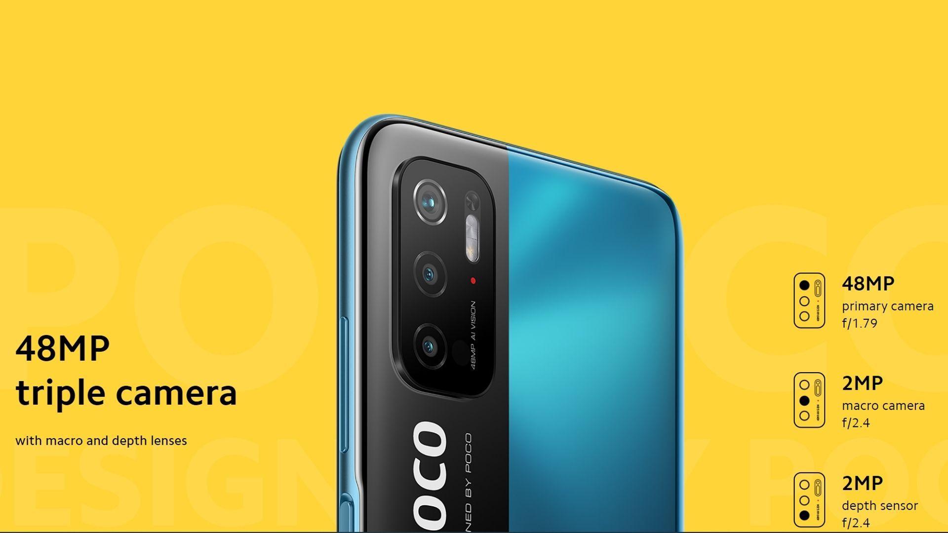 Conjunto de câmeras do Xiaomi POCO M3 Pro 5G. (Foto: Divulgação/Xiaomi)