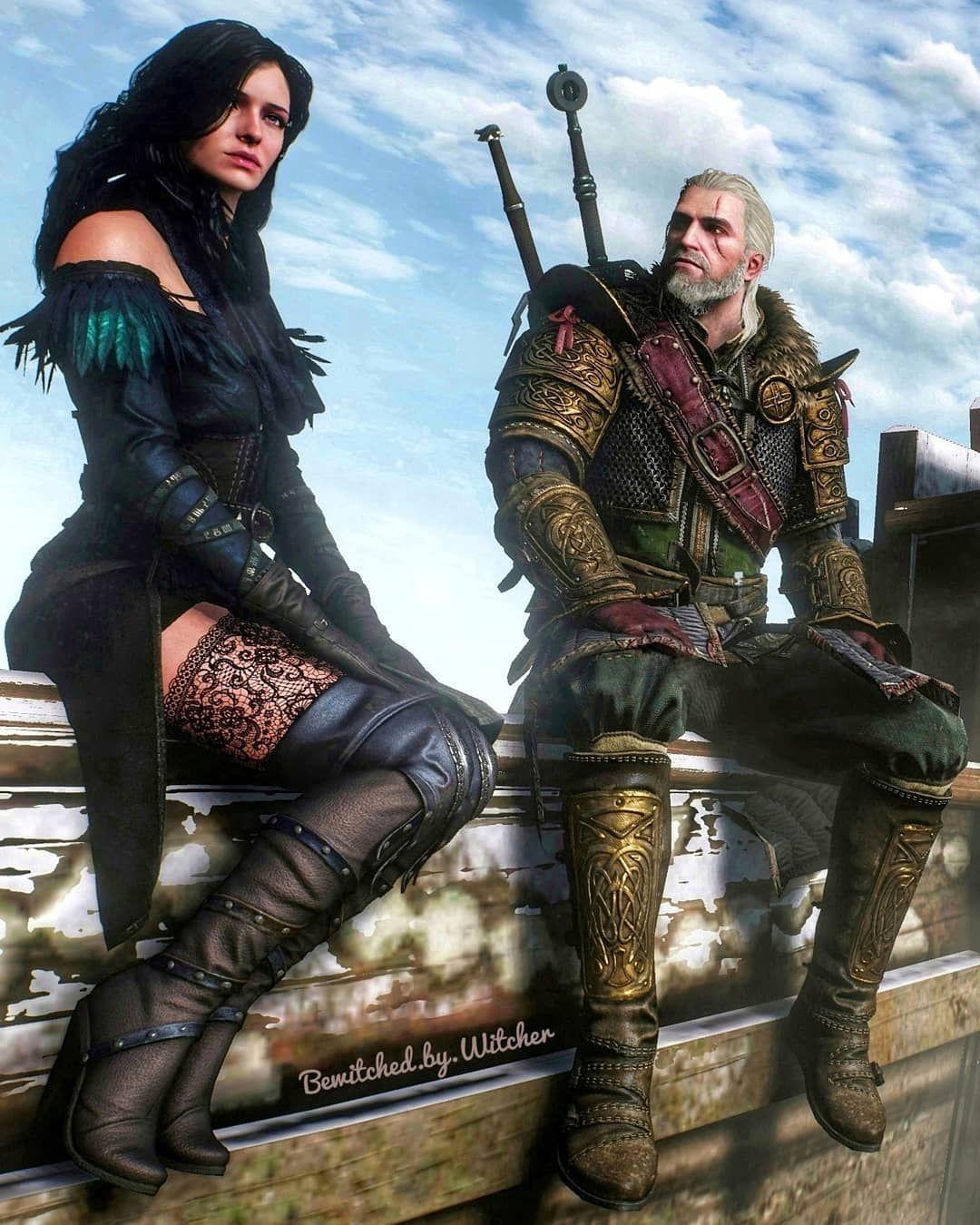 No game, Yennefer de Vengerbeg sentada ao lado de Geralt de Rivia