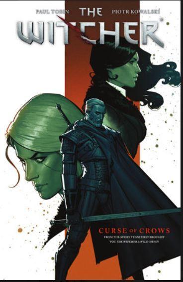 """Capa da história em quadrinhos """"Maldição dos Corvos"""" com ilustração que traz Yennefer de Vengerberg, Ciri e Geralt"""