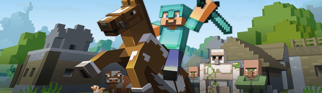 Personagem Steve de Minecraft com armadura e espada de diamante montado em um cavalo com aldeões e um golem de ferro ao fundo