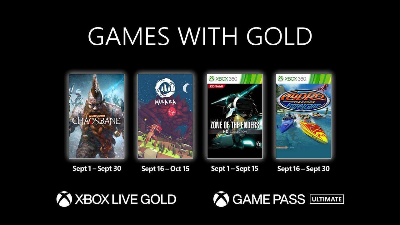 Caixas dos jogos grátis do serviço xbox live gold em setembro 2021 com fundo preto, incluindo Warhammer: Chaosbane, Mulaka, Zone of the Enders HD Collection e Hydro Thunder