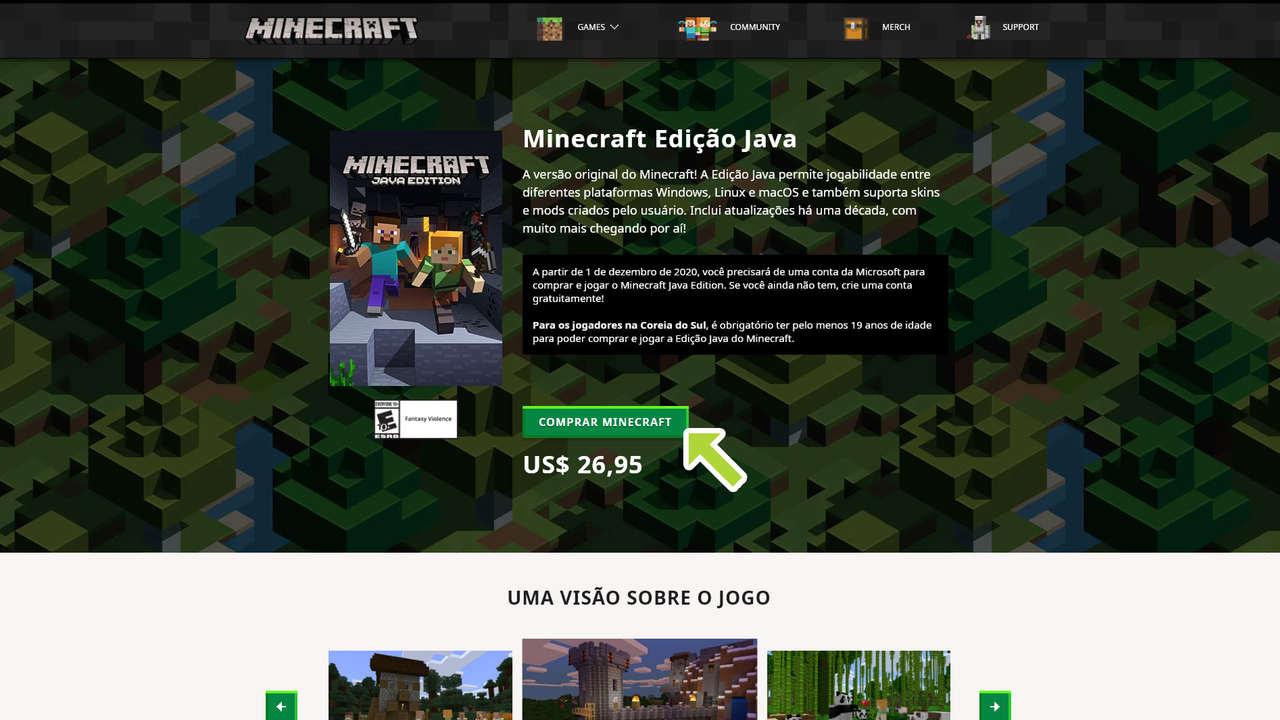 Página do jogo Minecraft: Java Edition com descrição, um botão para comprar o jogo e preço em dólares americanos