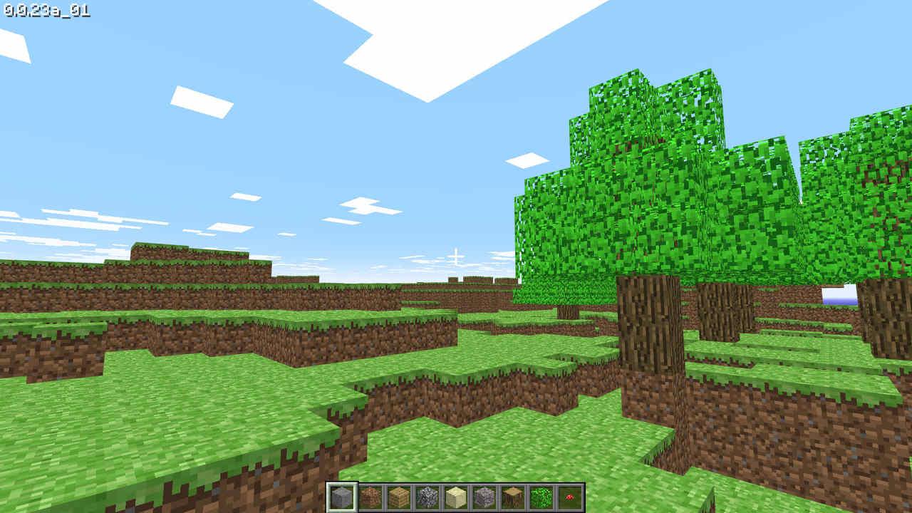 Campo aberto do jogo Minecraft em sua versão Classic, criado em blocos de terra e grama com algumas árvores à direita