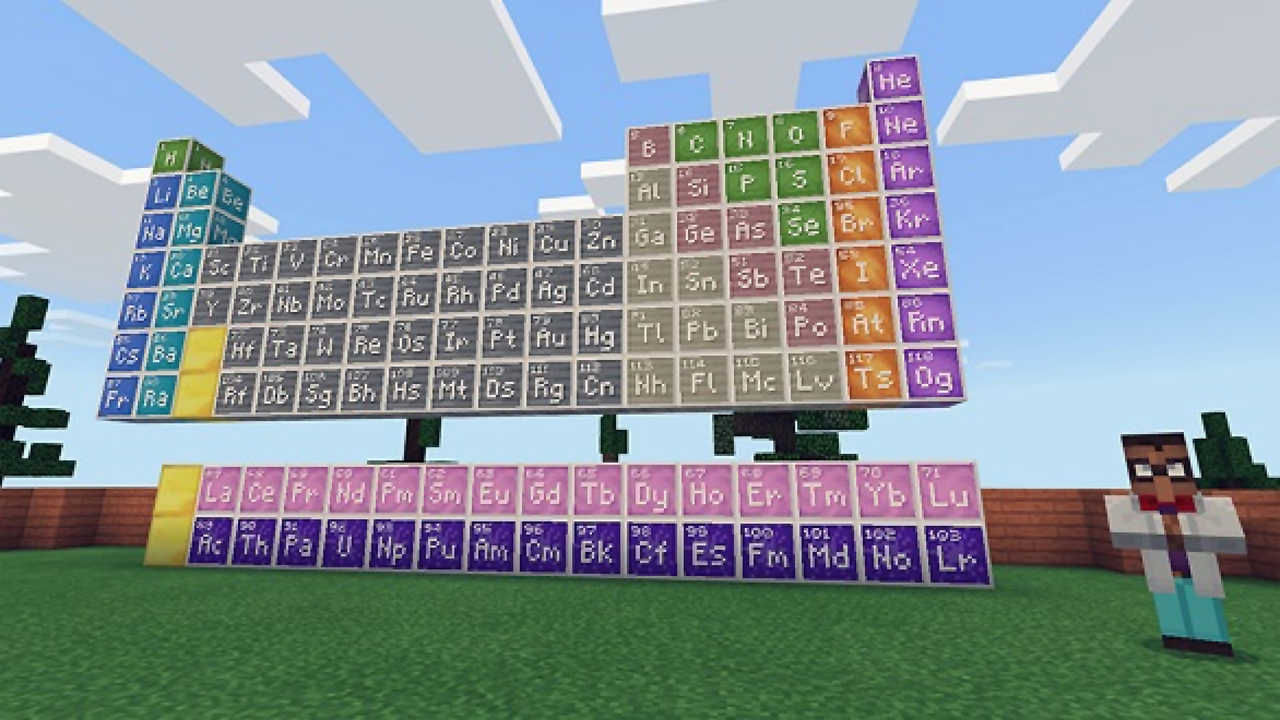 Um personagem de Minecraft vestido de professor ao lado de uma grande tabela periódica construída de blocos