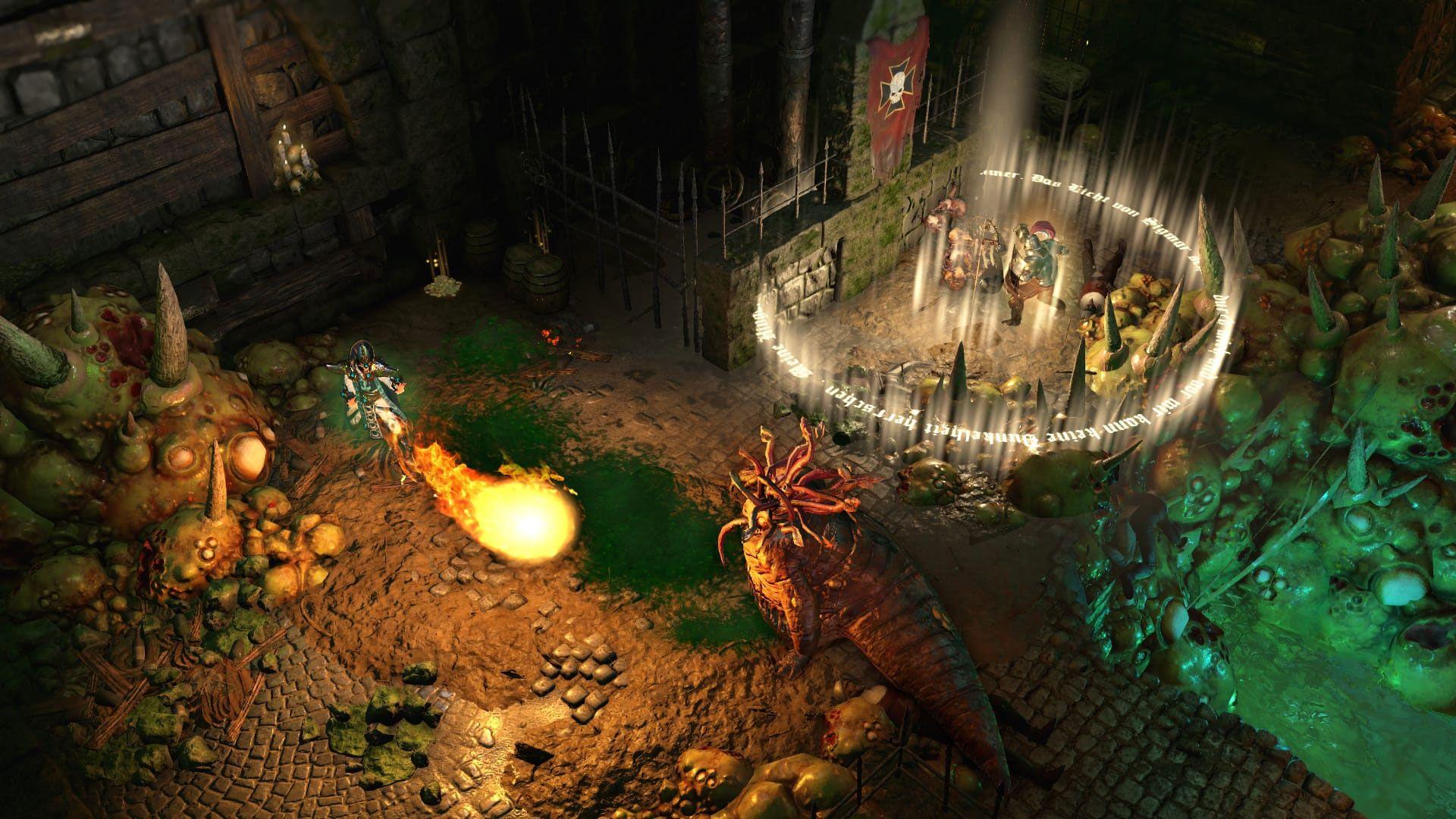 Em um cenário isométrico um personagem dispara uma bola de fogo contra um monstro enquanto outro ressuscita um companheiro caído
