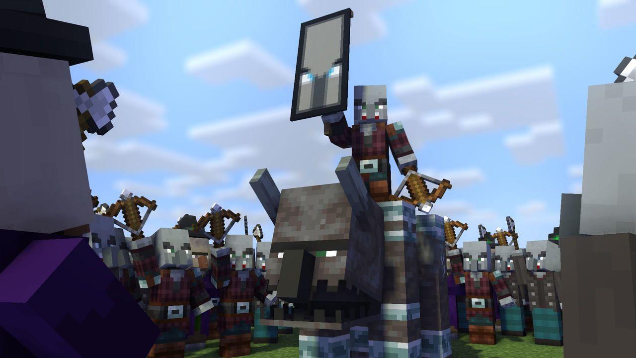 Um inimigo Pillager humanoide de Minecraft montado na besta quadrúpede Ravage enquanto ergue uma bandeira cercado por um exército de outros pillagers que o apoiam