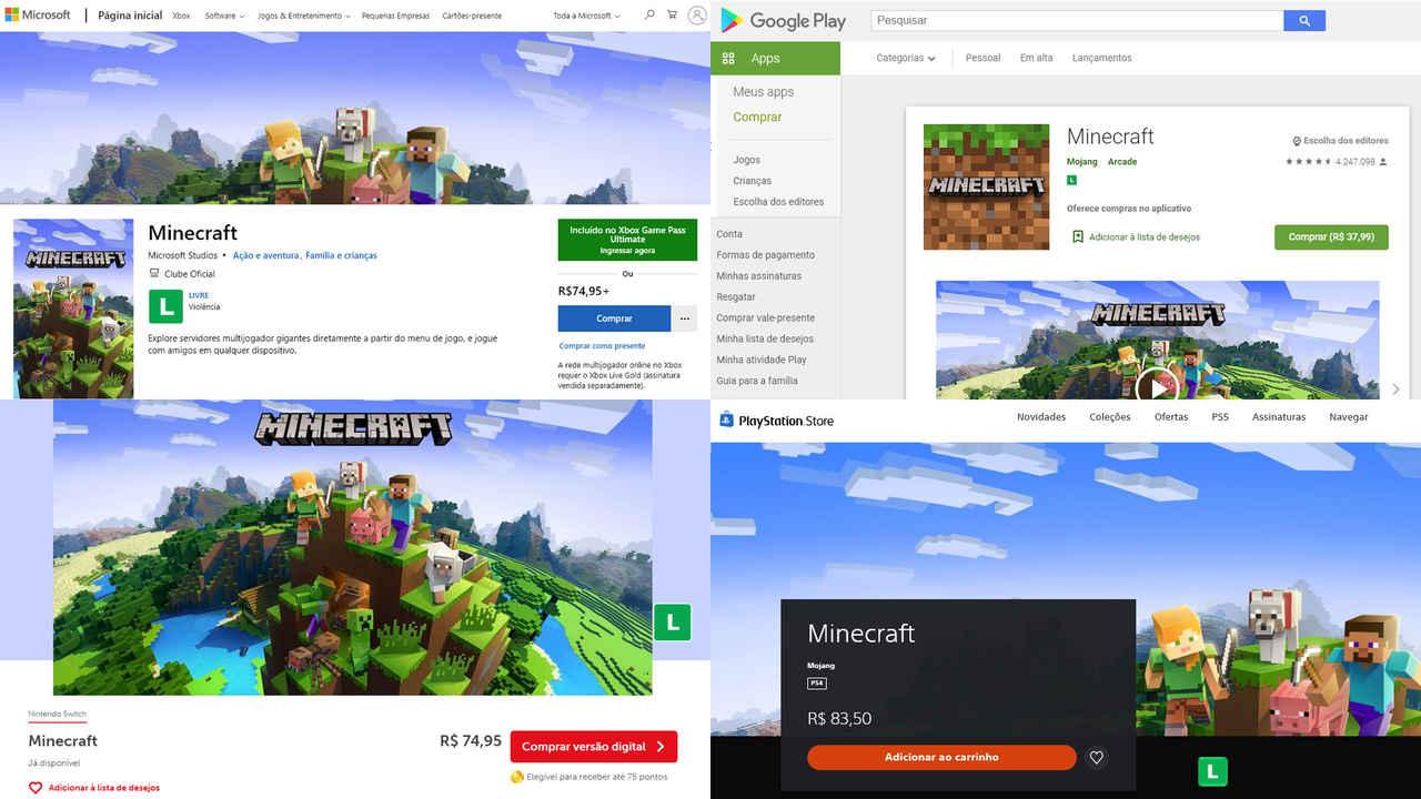 Quatro páginas de Minecraft nas lojas próprias do Xbox, PlayStation, Switch e Android