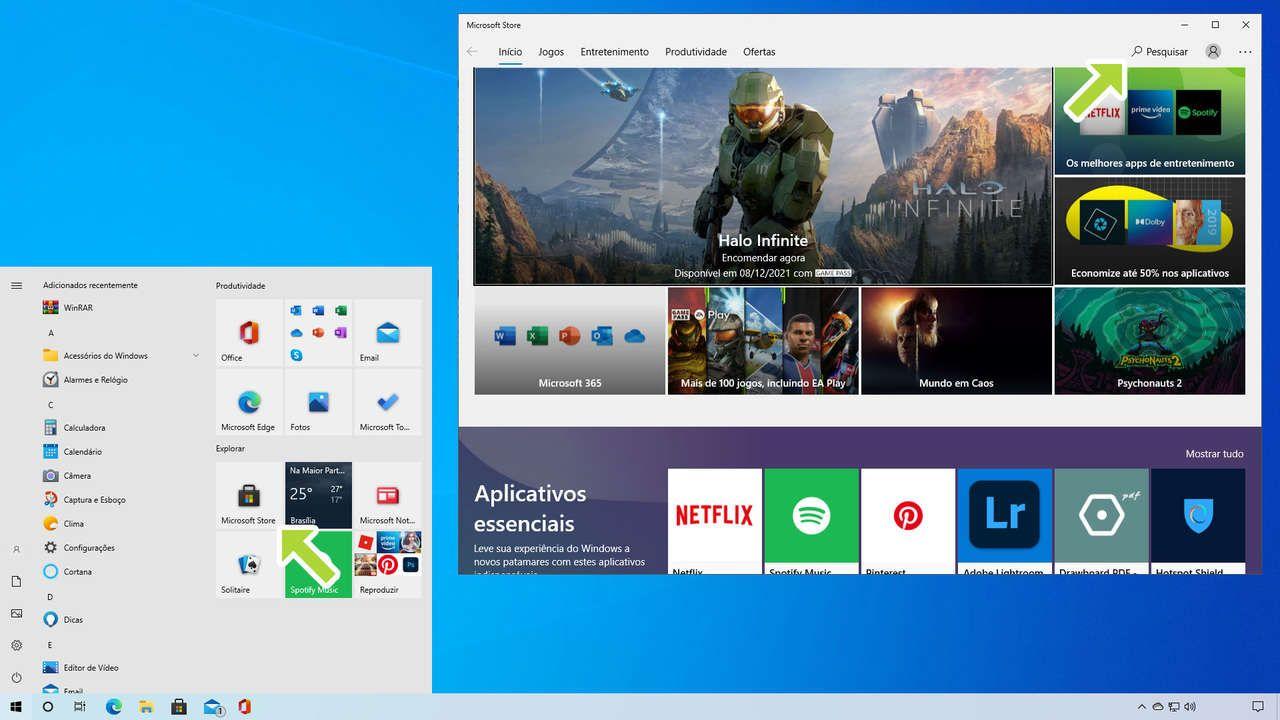 Captura de tela do menu iniciar do Windows 10 e página inicial da loja Microsoft Store com setas que apontam para a loja e para a função pesquisar