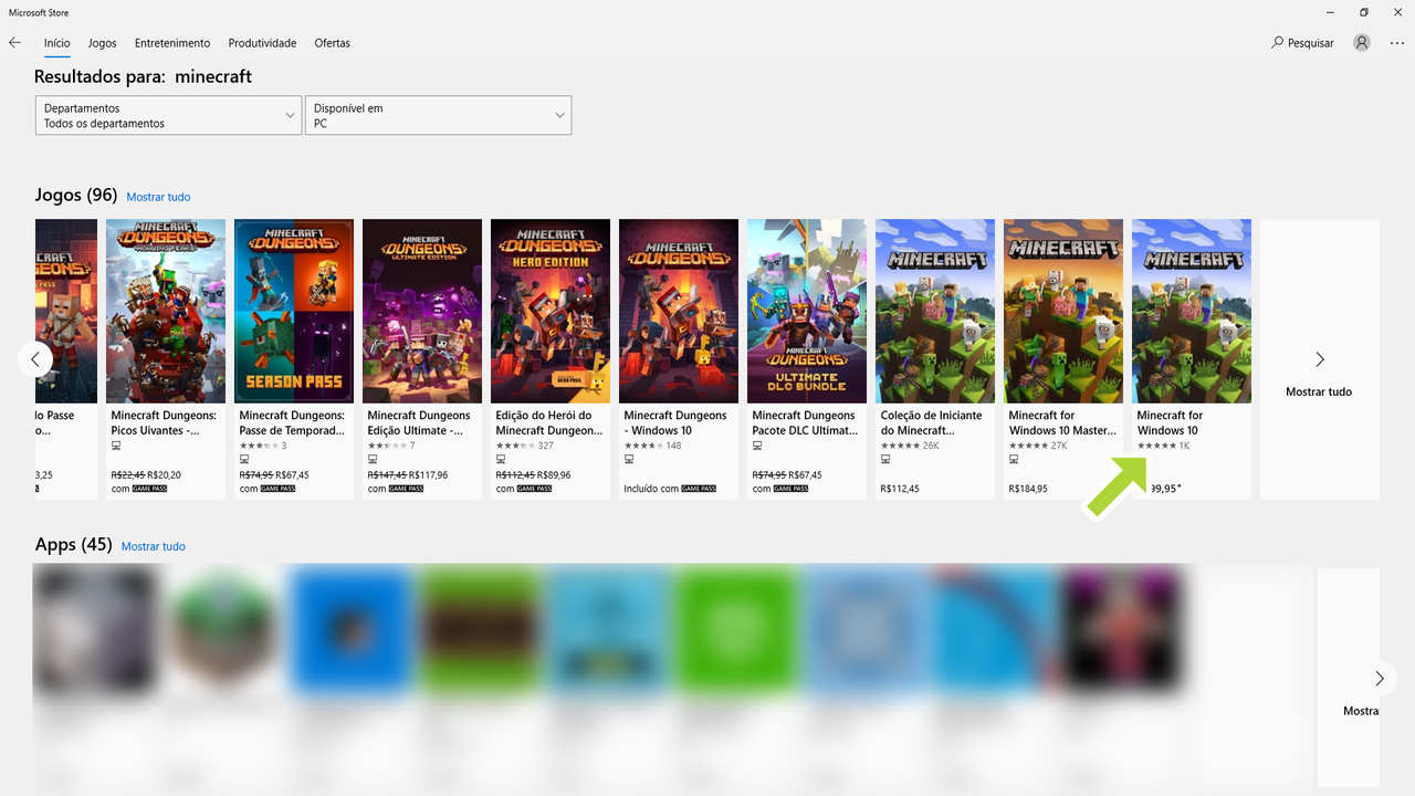 Tela de busca da loja Microsoft Store após procurar o termo Minecraft, com Minecraft Dungeons entre os resultados