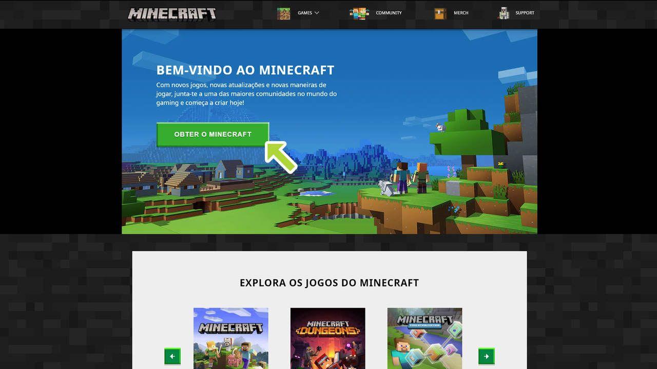 Site oficial de Minecraft com uma imagem de um campo aberto no jogo enquanto os protagonistas Steve e Alex olham para o horizonte com um botão para compra do lado esquerdo