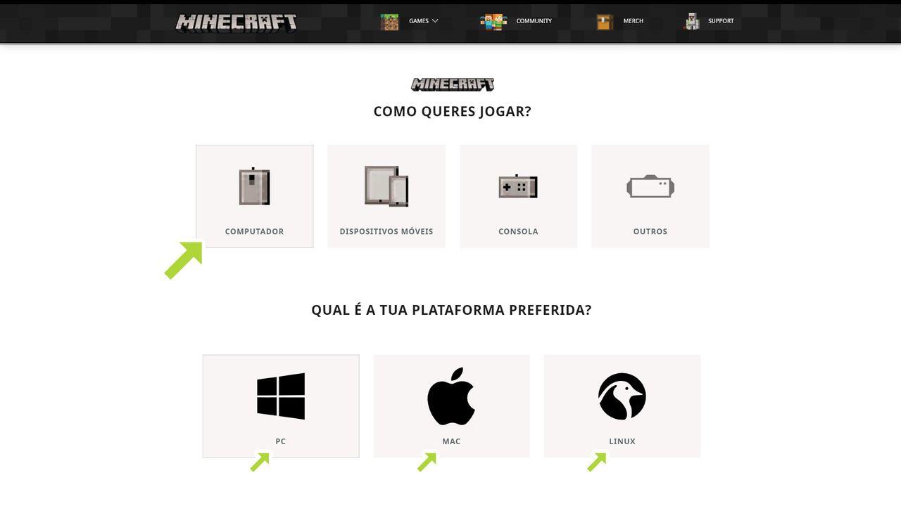 Ícones de seleção de plataforma no site oficial de Minecraft com uma seta apontando para computador com ícones de seleção de sistema operacional embaixo com Windows, Mac e Linux entre opções
