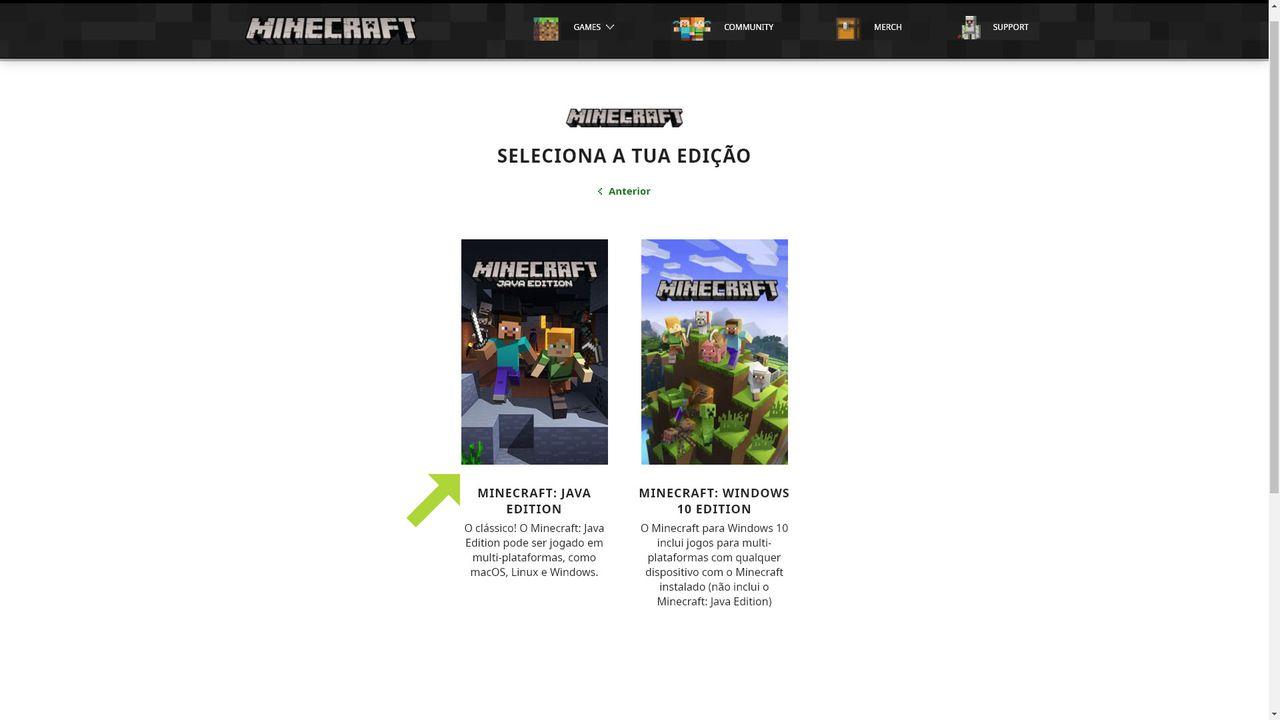 Duas imagens de seleção de Minecraft no centro da tela com Minecraft: Java Edition à esquerda e Minecraft: Windows 10 Edition à direita