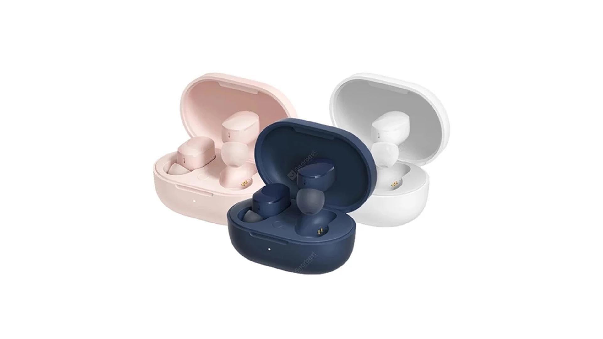 Redmi AirDots 3 de cores diferentes - azul, rosa e branco - em cases em fundo branco