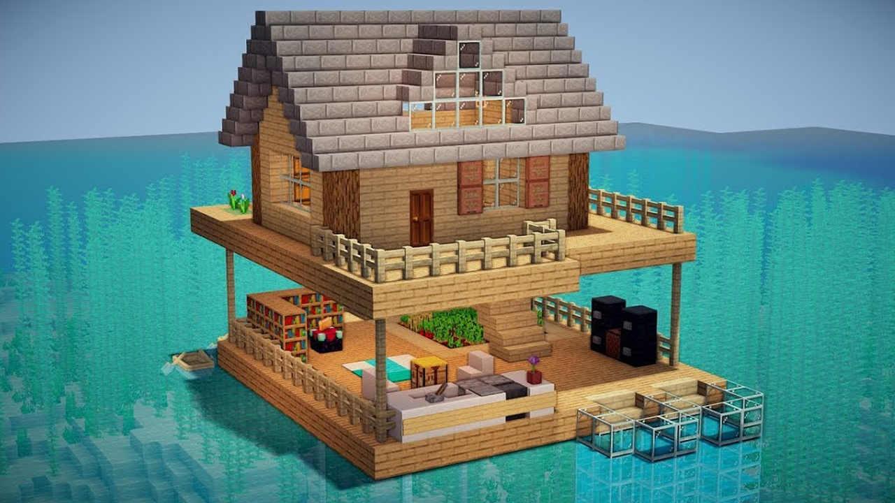 Casa de madeira Minecraft sobre a água e em construção