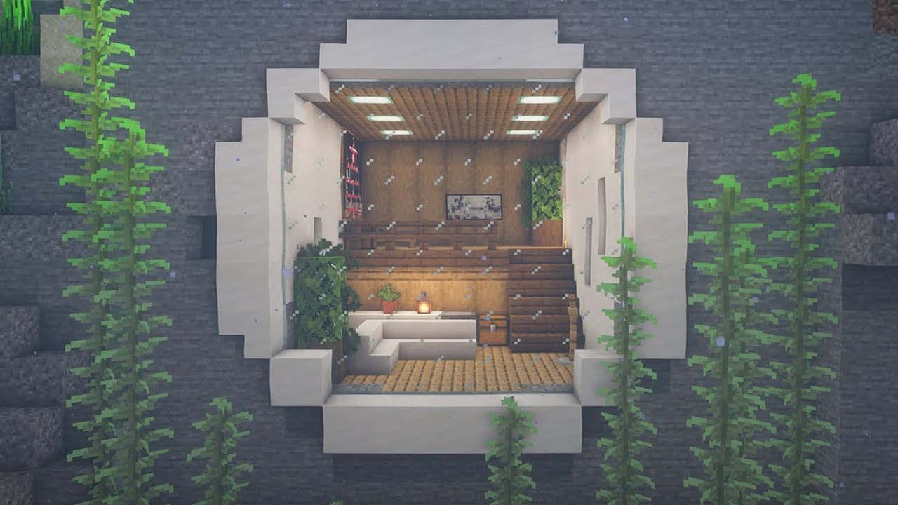 Casa do Minecraft dentro da água com móveis e decoração