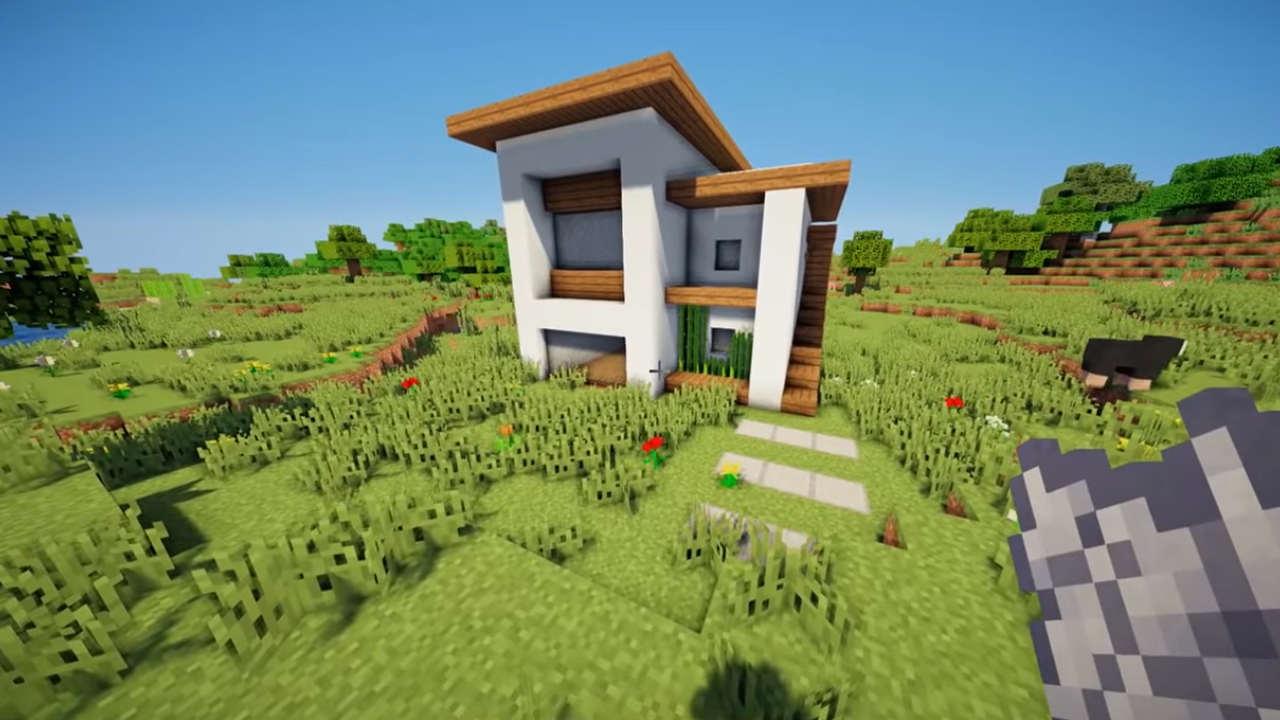 Casa Minecraft com visual moderno e tamanho compacto