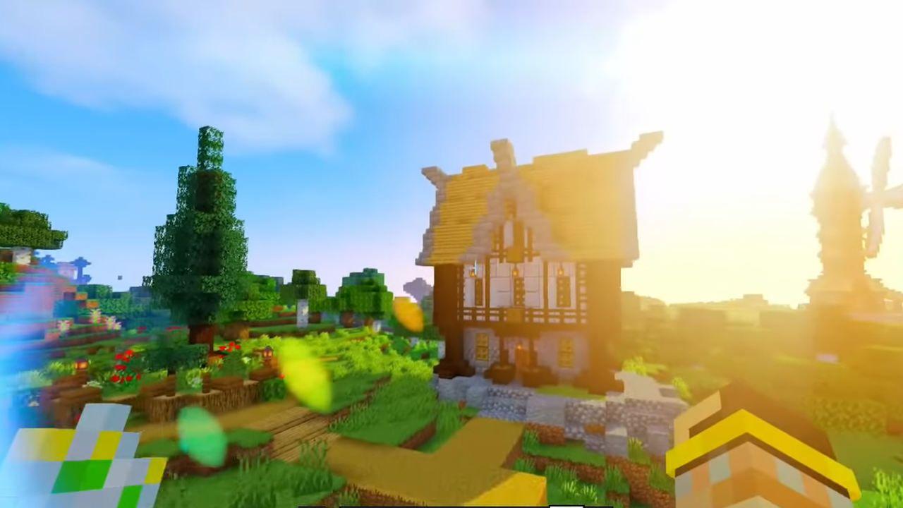 Uma casa medieval Minecraft feita em pedra e madeira