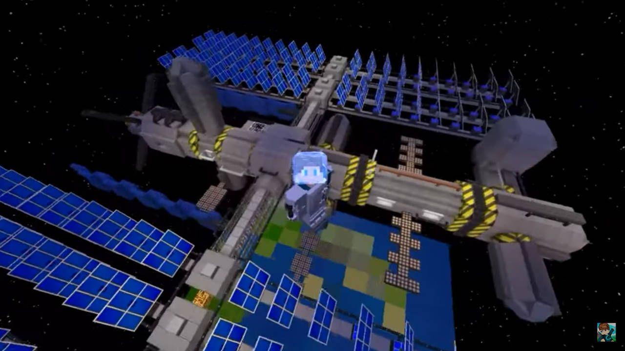 Uma casa Minecraft baseada em uma estação espacial em órbita