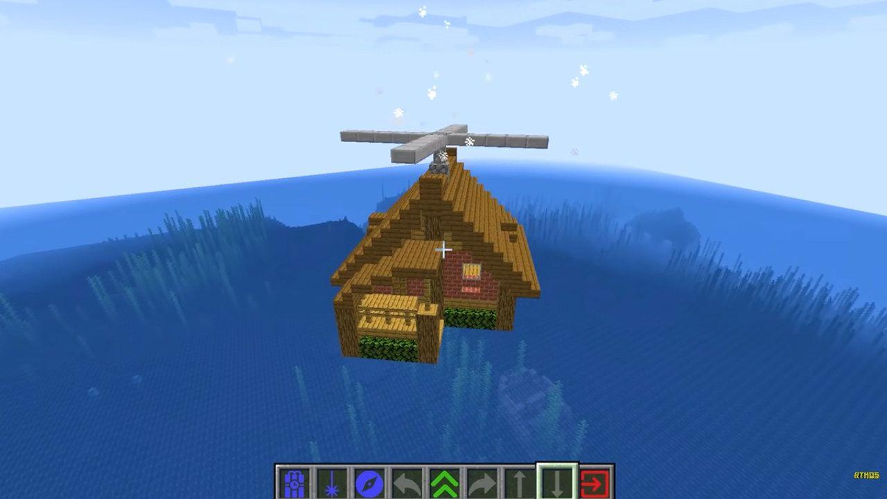 Casa Minecraft flutuando sobre o cenário do jogo