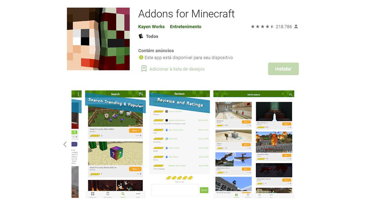 Print Play Store de app para baixar mods para Minecraft PE
