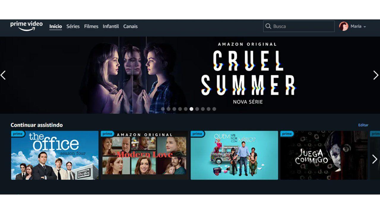 Captura de tela da página inicial do aplicativo Amazon Prime Video.