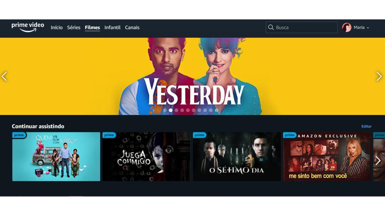 """Captura de tela da aba """"Filmes"""" no aplicativo do Amazon Prime Video."""