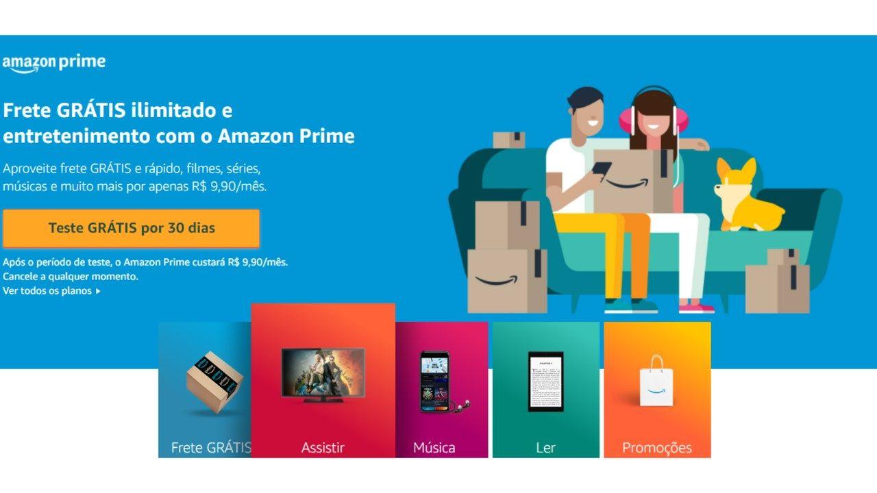 Captura de tela da página de assinatura do Amazon Prime no site da Amazon.