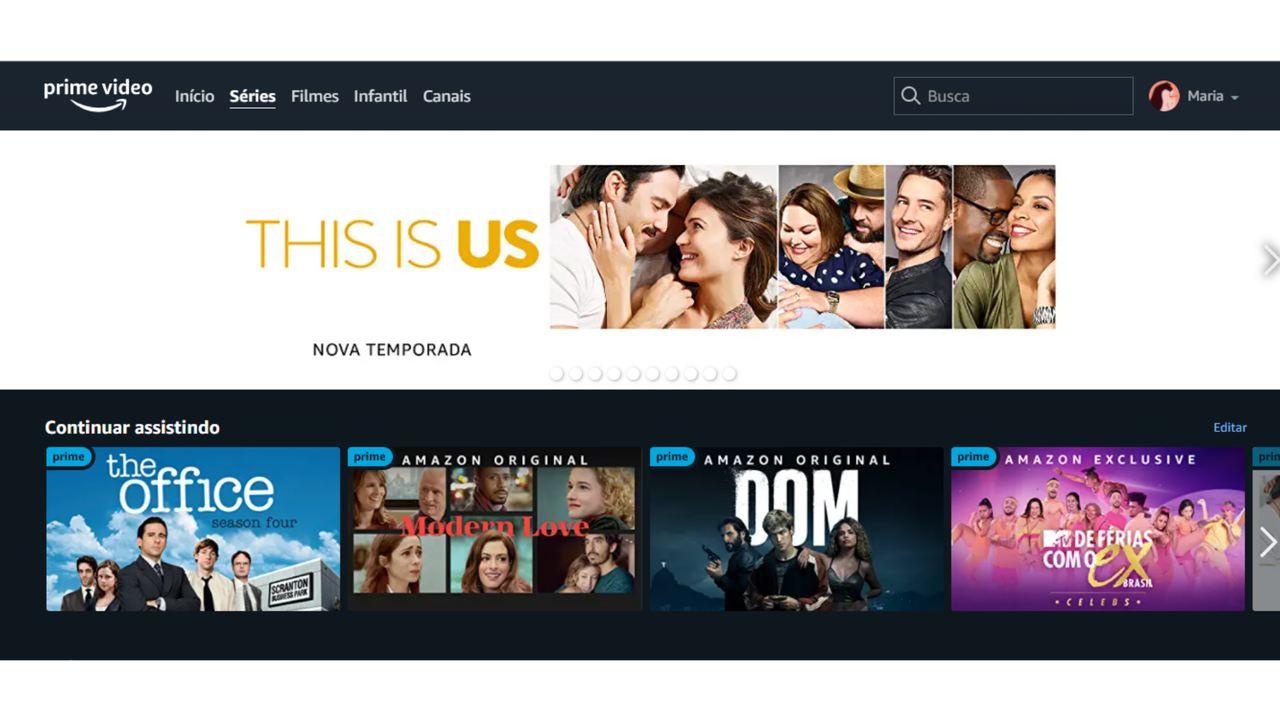 "Captura de tela da aba ""Séries"" no aplicativo do Amazon Prime Video."