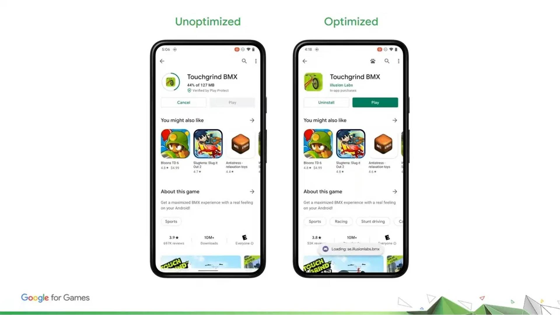 Imagem mostra mudança na atualização para o Android 12, com a possibilidade de iniciar o jogo antes do fim do download
