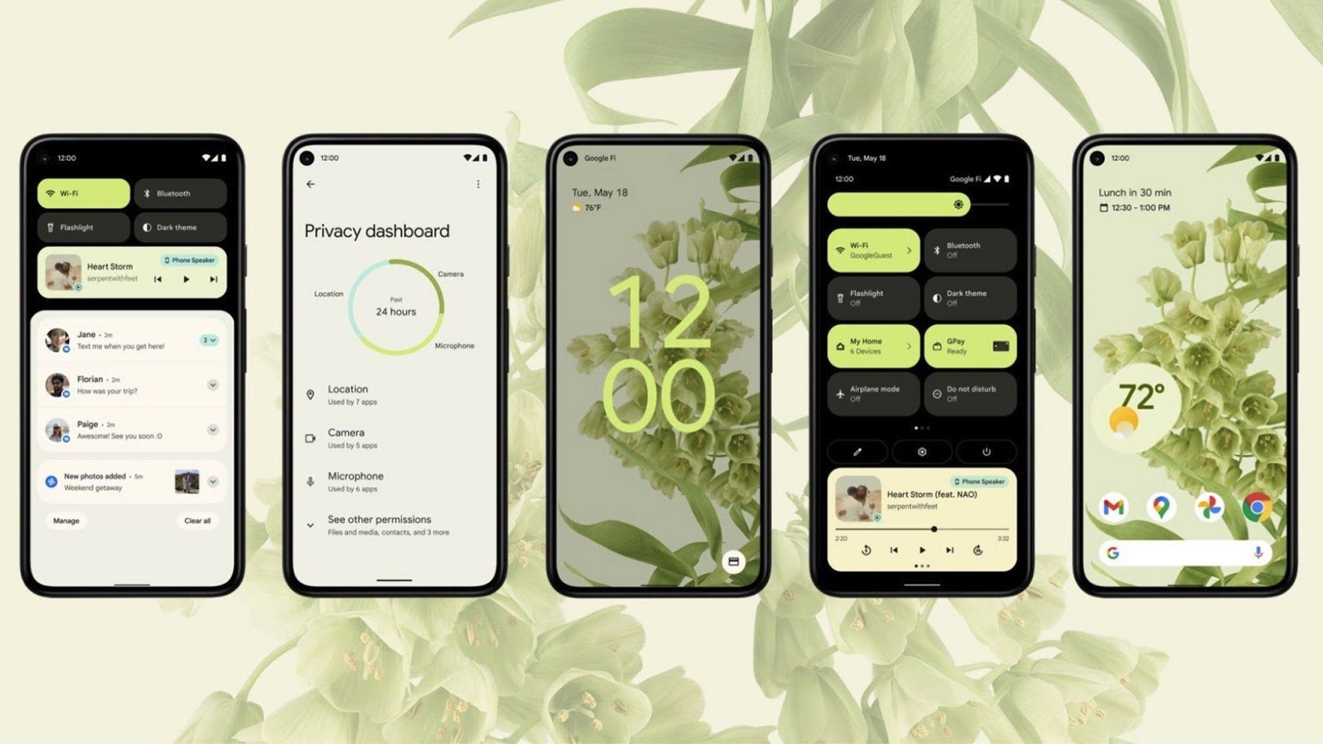 Imagem mostra cinco celulares, um ao lado do outro, com novo design do Android 12