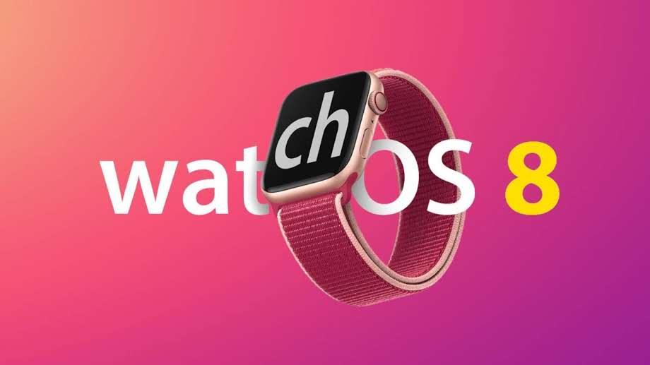 Apple Watch 7 com pulseira e fundo rosa escrito Watch OS 8