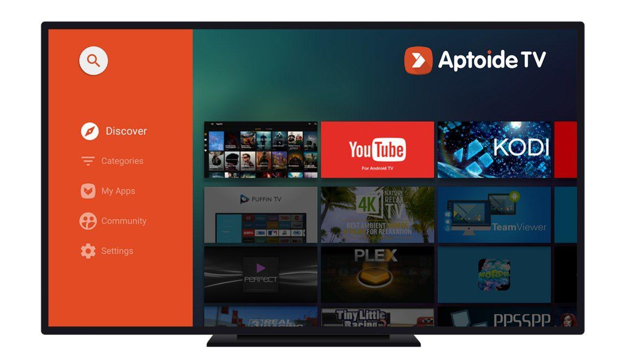 Aptoide TV aberto em uma televisão.