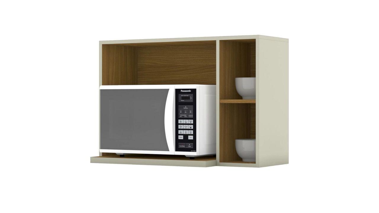 Armário para micro-ondas Essência Henn com o eletrodoméstico apoiado, tudo em fundo branco.