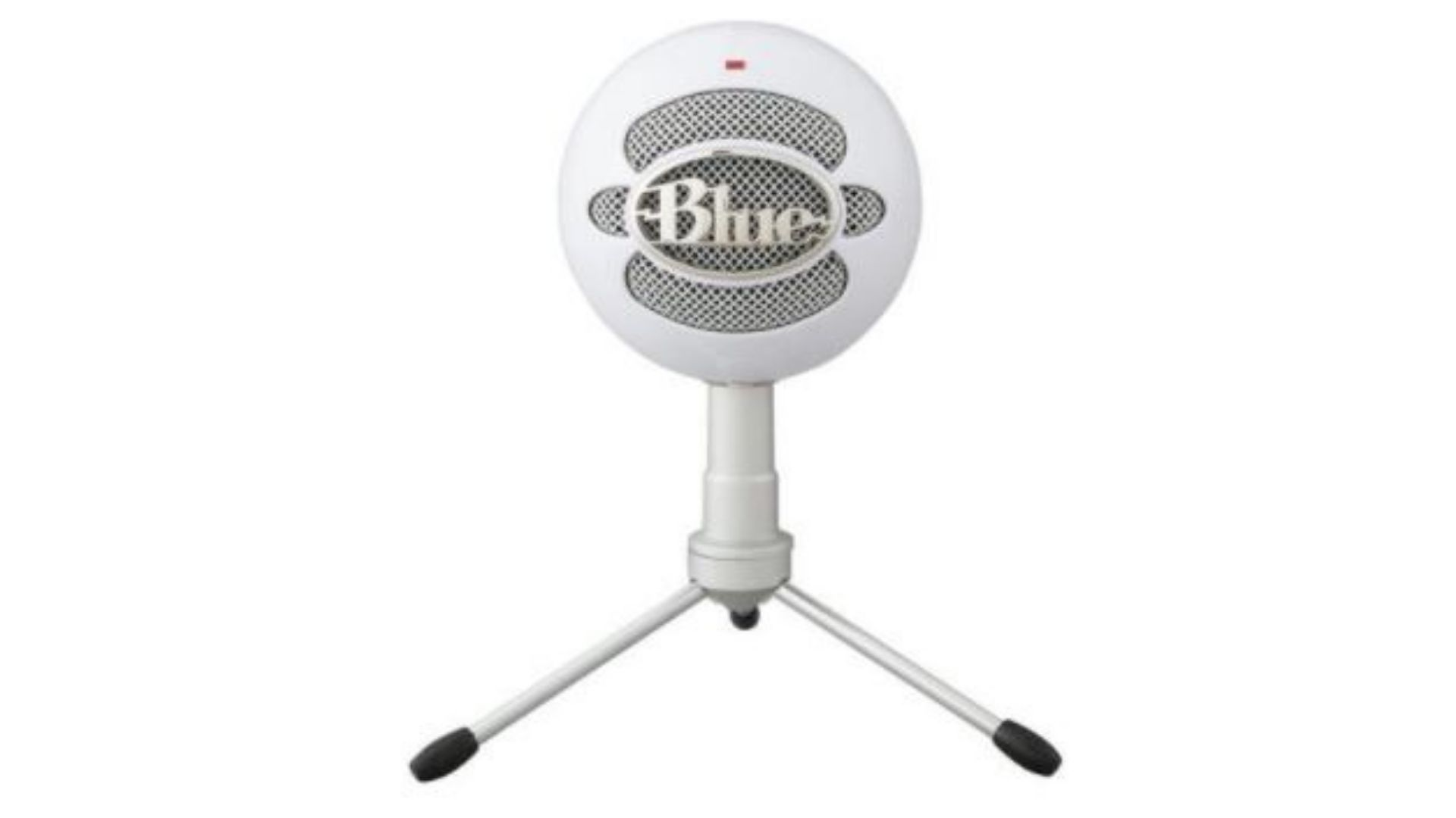 Microfone branco da empresa Blue