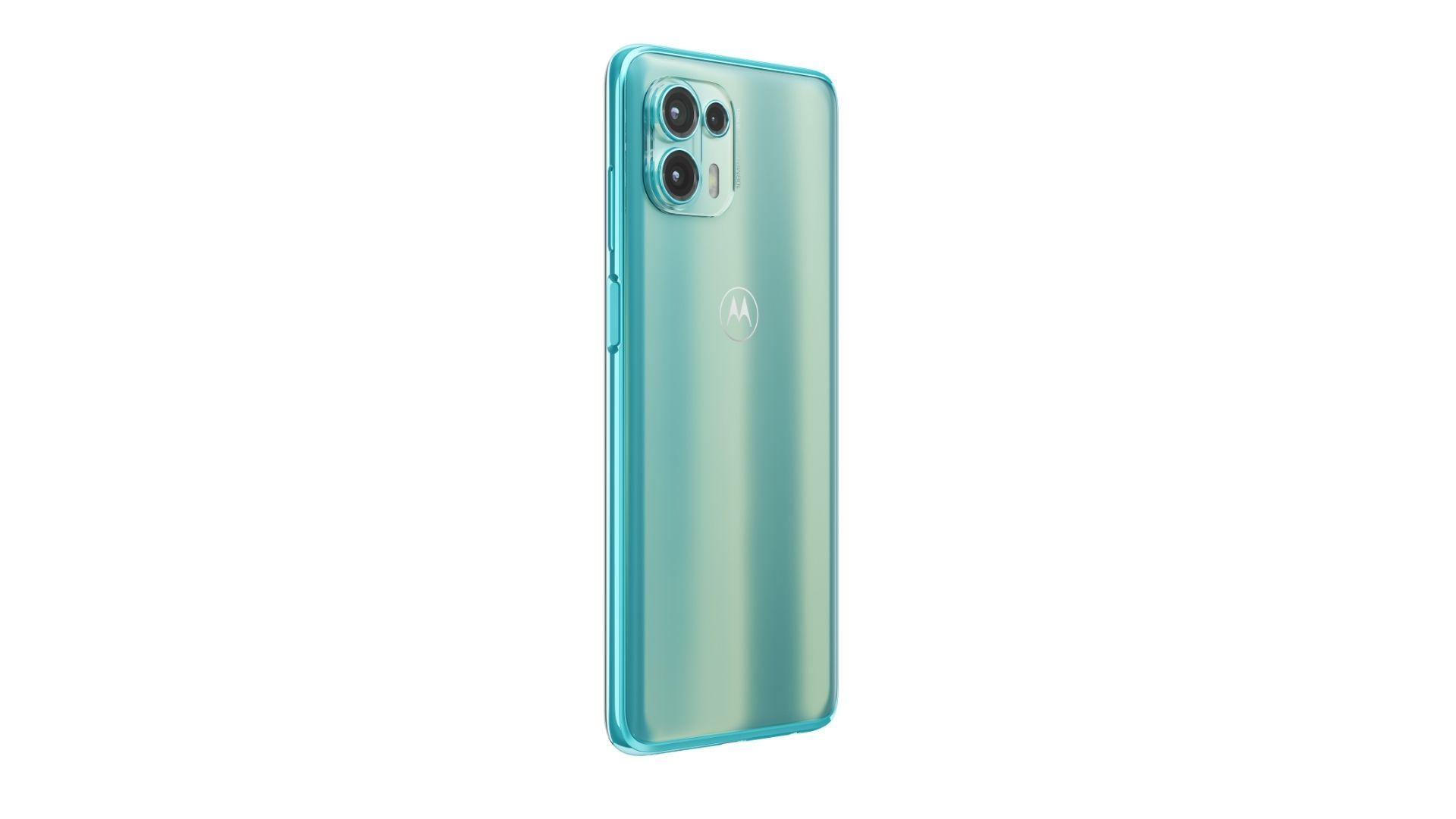 Imagem mostra parte traseira e lateral do Motorola Edge Lite