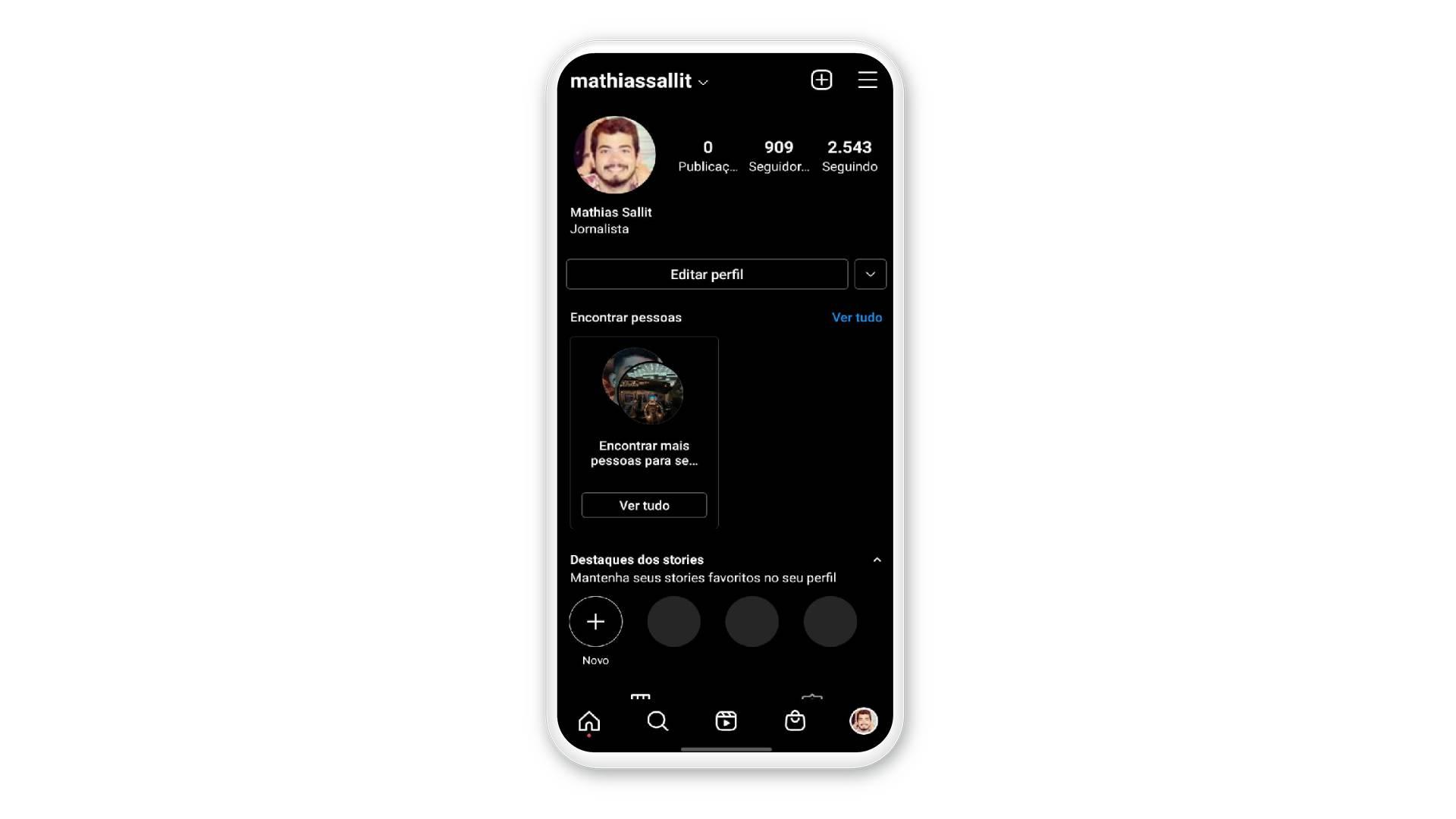 """Print mostra perfil no Instagram com opção de """"Editar perfil"""""""