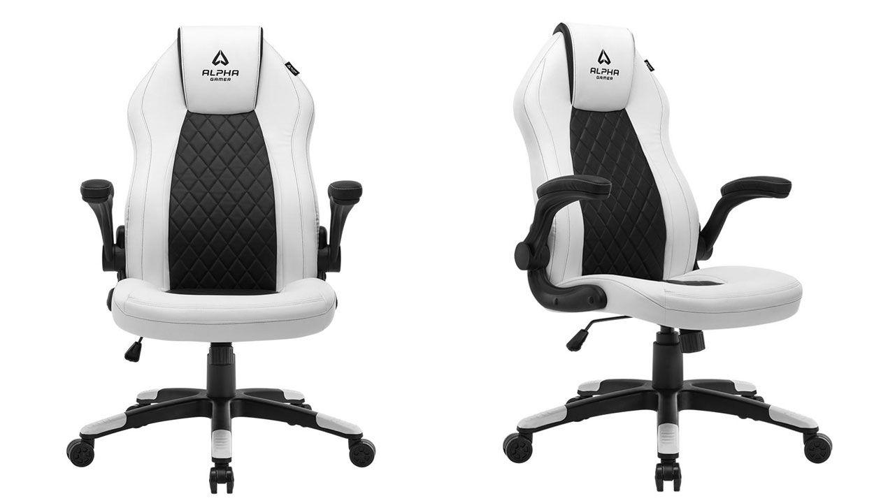 Cadeira Gamer branca Alpha Gamer Sirius White vista de frente e de lado no fundo branco